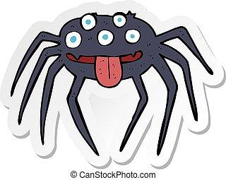 sticker of a cartoon gross halloween spider