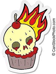 sticker of a cartoon halloween cup cake