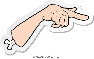 sticker of a cartoon halloween pointing hand