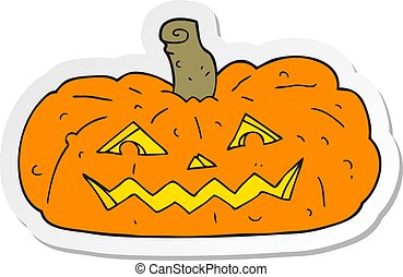 sticker of a cartoon halloween pumpkin