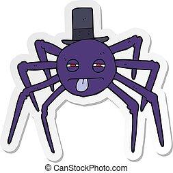 sticker of a cartoon halloween spider in top hat