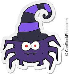 sticker of a cartoon halloween spider