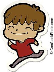 sticker of a cartoon happy boy
