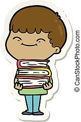 sticker of a cartoon happy boy with books