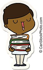 sticker of a cartoon happy boy with stack of books