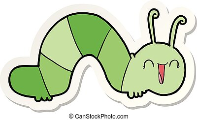 sticker of a cartoon happy caterpillar