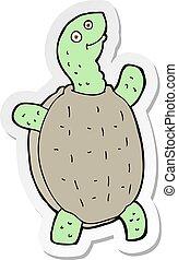 sticker of a cartoon happy turtle