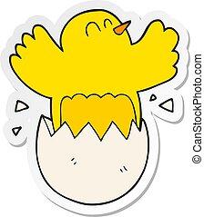 sticker of a cartoon hatching egg