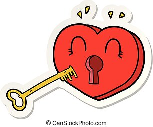 sticker of a cartoon heart with key