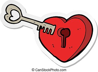 sticker of a cartoon heart with keyhole