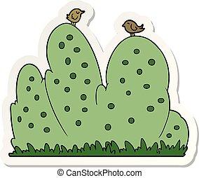 sticker of a cartoon hedge