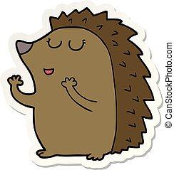 sticker of a cartoon hedgehog