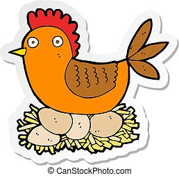 sticker of a cartoon hen on eggs