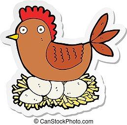 sticker of a cartoon hen on eggs