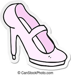 sticker of a cartoon high heeled shoe
