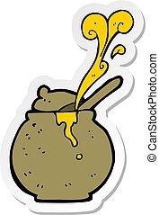 sticker of a cartoon honey pot