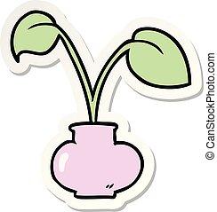 sticker of a cartoon house plant