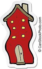 sticker of a cartoon house