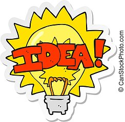 sticker of a cartoon idea light bulb symbol