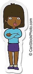 sticker of a cartoon impatient woman