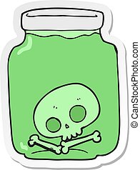 sticker of a cartoon jar with skull