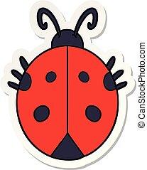 sticker of a cartoon ladybug