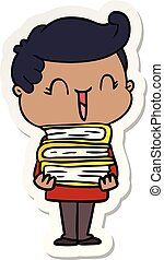 sticker of a cartoon laughing boy carrying books