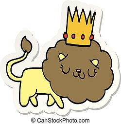 sticker of a cartoon lion with crown
