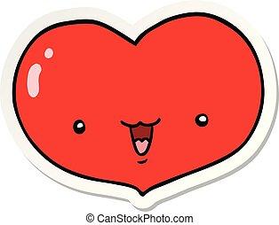 sticker of a cartoon love heart character