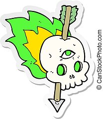 sticker of a cartoon magic skull with arrow through brain