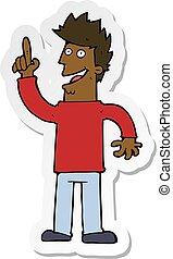 sticker of a cartoon man with great new idea