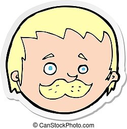 sticker of a cartoon man with mustache