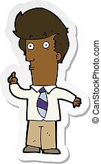 sticker of a cartoon man with question