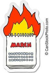 sticker of a cartoon march calendar