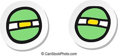 sticker of a cartoon narrowed alien eyes