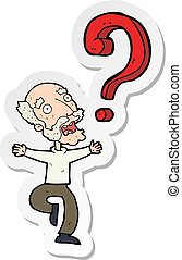 sticker of a cartoon old man with question