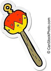 sticker of a cartoon old rattle