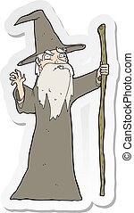 sticker of a cartoon old wizard