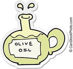 sticker of a cartoon olive oil