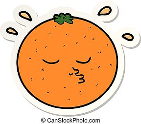 sticker of a cartoon orange with face