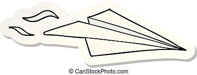 sticker of a cartoon paper airplane