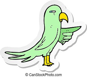 sticker of a cartoon parrot