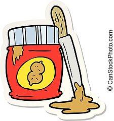 sticker of a cartoon peanut butter