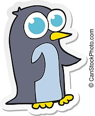 sticker of a cartoon penguin with big eyes
