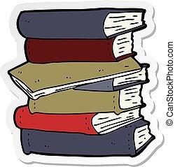 sticker of a cartoon pile of books