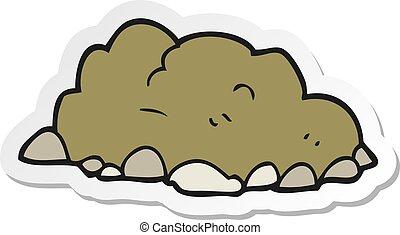 sticker of a cartoon pile of dirt