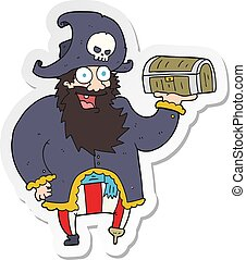 sticker of a cartoon pirate captain with treasure chest