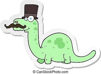 sticker of a cartoon posh dinosaur