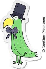 sticker of a cartoon posh parrot