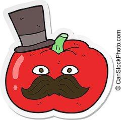 sticker of a cartoon posh tomato